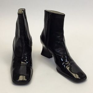 Prada Black Leather and Patent Square Toe Booties